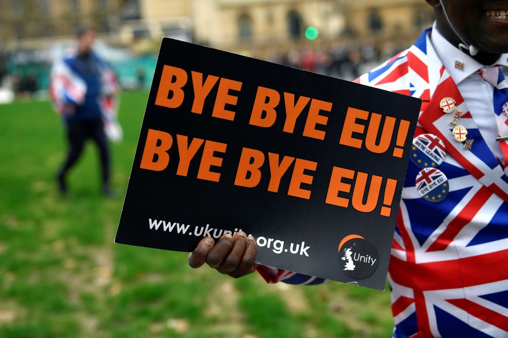 Image result for Brexit at last: Britain leaves the EU as champagne corks fly