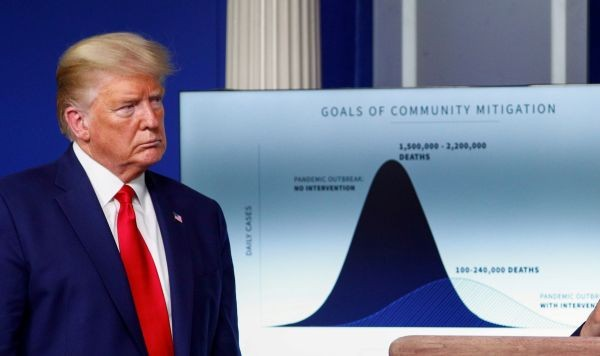 "U.S. President Donald Trump listens as he stands in front of a chart labeled ""Goals of Community Mitigation"" showing projected deaths in the United States after exposure to coronavirus as 1,500,000 - 2,200,000 without any intervention and a projected 100,000 - 240,000 deaths with intervention taken to curtail the spread of the virus during the daily coronavirus response briefing at the White House in Washington, US on March 31, 2020. (REUTERS File Photo)"