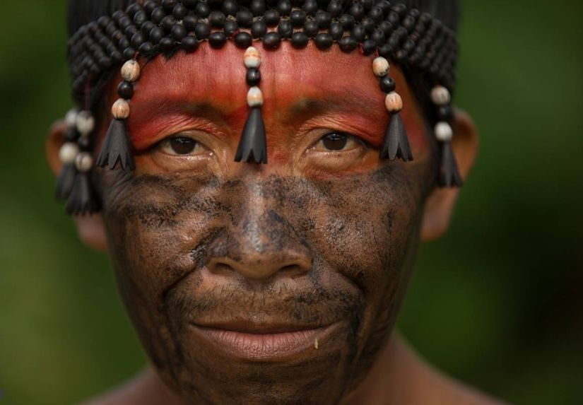 Adilio Kanamari, an indigenous chief whose name in his own language is Arabona, is seen in Bananeira, a village on the Itacoai River in the indigenous territory of the Javari Valley in the western Brazilian Amazon. Credit: Bruno Kelly/Amazonia Real