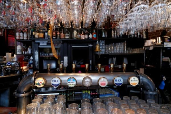 A view of a bar counter in central Brussels, as the country began easing lockdown restrictions following the coronavirus disease (COVID-19) outbreak in Belgium on June 4, 2020. (REUTERS Photo)