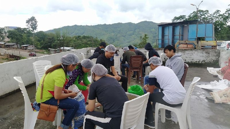 Workers are engaged round the clock in Bethel Kitchen Kohima to provide food for occupants of three Quarantine Centres in Kohima. (Morung Photo)
