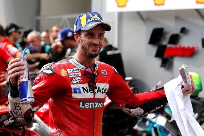 Mission Winnow Ducati Corse's Andrea Dovizioso celebrates third place after the race REUTERS/Lai Seng Sin/File Photo