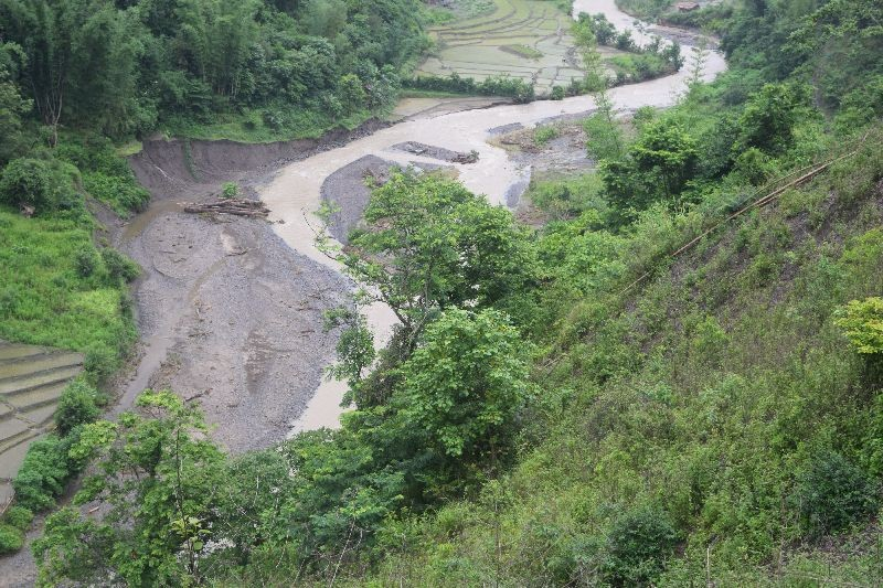 Portion of the paddy field damaged and washed away by torrential rainfall and landslide in village under Noklak district. (Photo Courtesy: WNYSU)