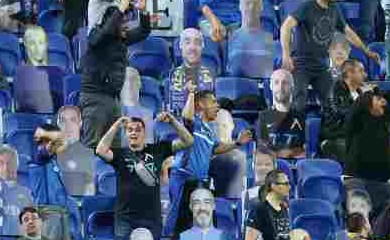 Levski Sofia fans react among cardboard cut outs in the stands, as play resumes following the outbreak of COVID-19. (Reuters Photo)
