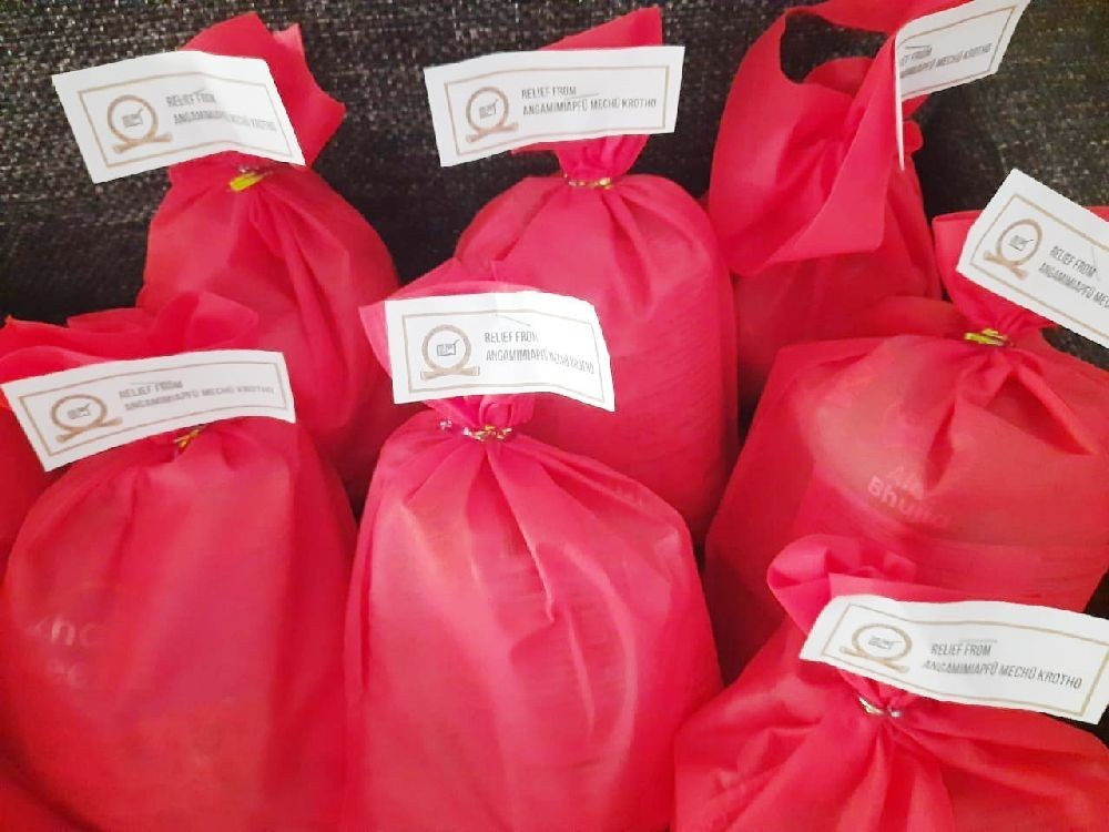 Food packages prepared by Angamimiapfu Mechu Krotho, Kohima for the returnees in K Badze and Meriema quarantine centres.