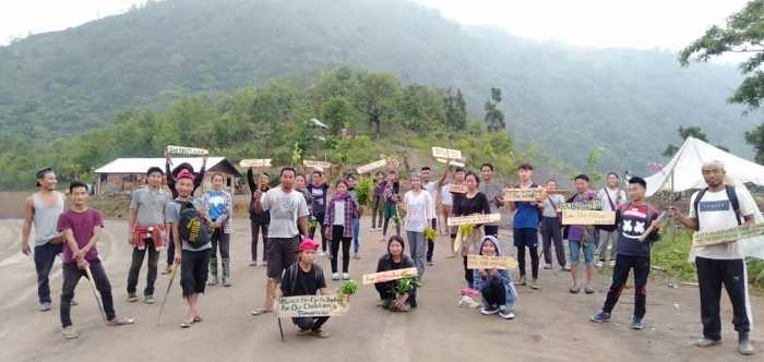 A midst Lock down Middle Khomi Students Union (MKSU) had observed World Environment Day and planted hundreds of trees and also put some environment quotes inscription on road side. (Photo Courtesy: MKSU)