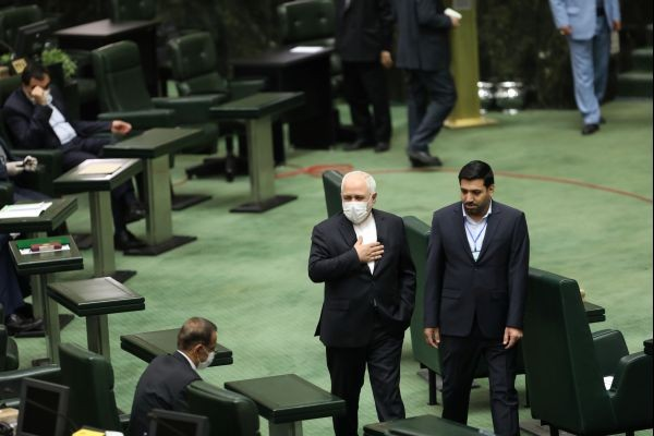 Iran's Foreign Minister Javad Zarif wears a protective face mask as he attends the opening ceremony of Iran's 11th parliament as the spread of the coronavirus disease (COVID-19) continues, in Tehran, Iran on May 27, 2020. (REUTERS Photo)