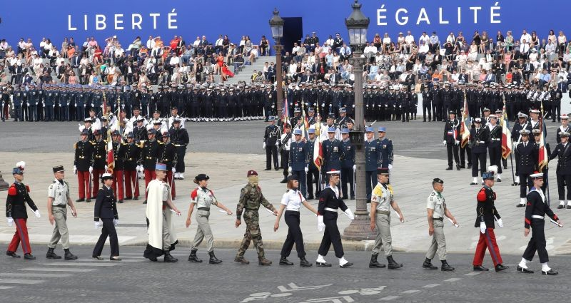 French troops take part in the annual Bastille Day military ceremony on the Place de la Concorde in Paris on July 14. (REUTERS Photo)