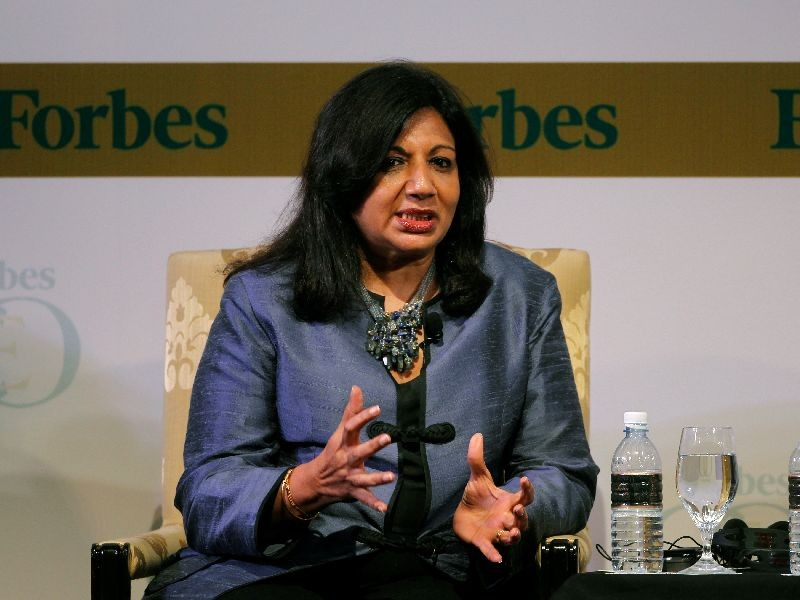 India's Biocon Ltd Chairman and Managing Director Kiran Mazumdar-Shaw speaks during the Forbes Global CEO Conference in Kuala Lumpur September 13, 2011. REUTERS/Bazuki Muhammad/File Photo