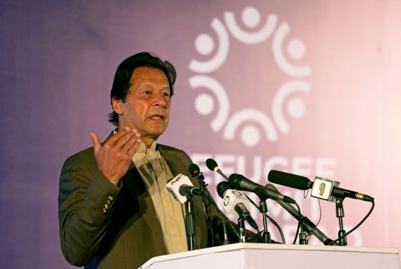 Pakistan's Prime Minister Imran Khan speaks during an international conference on the future of Afghan refugees living in Pakistan, organized by Pakistan and the UN Refugee Agency in Islamabad, Pakistan on February 17, 2020. (REUTERS File Photo)