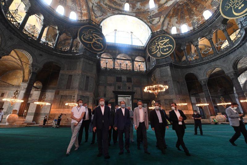 Head of Turkey's Religious Affairs Directorate Ali Erbas visits Hagia Sophia or Ayasofya-i Kebir Camii in Istanbul, Turkey on July 22, 2020. (REUTERS Photo)