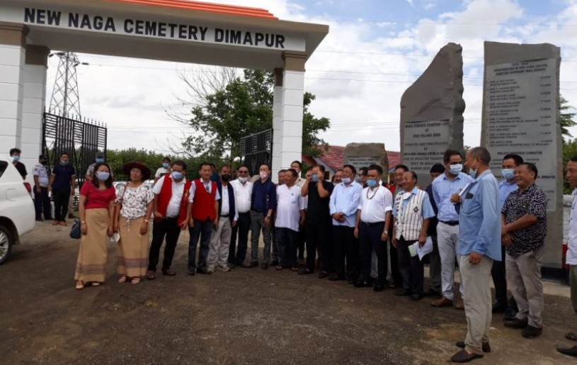 Minister G Kaito Aye along with other dignitaries, officials and NCD members at the inauguration of the New Naga Cemetery at Zani Village area on July 1. (Morung Photo)