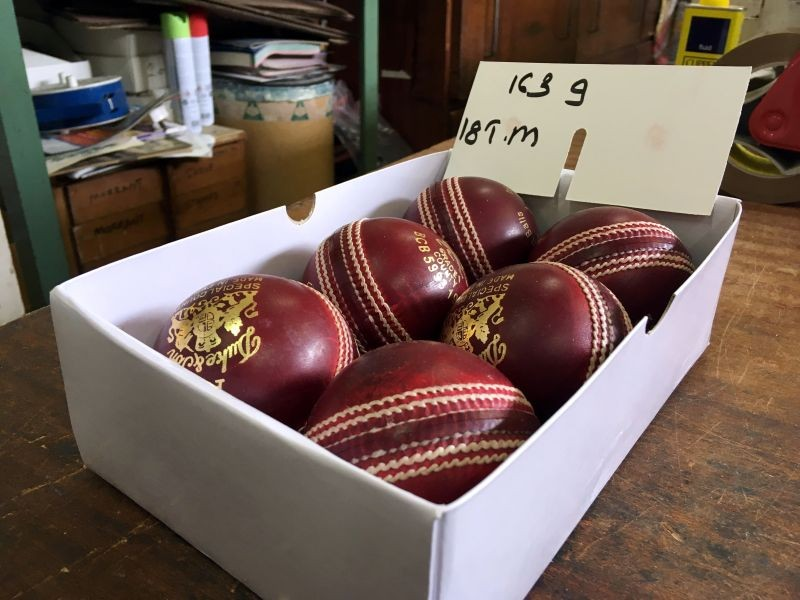 A box of freshly polished Dukes balls that will be used for the third Ashes test at the British Cricket Balls Ltd in Walthamstow, London, Britain July 31, 2019. REUTERS/Martyn Herman