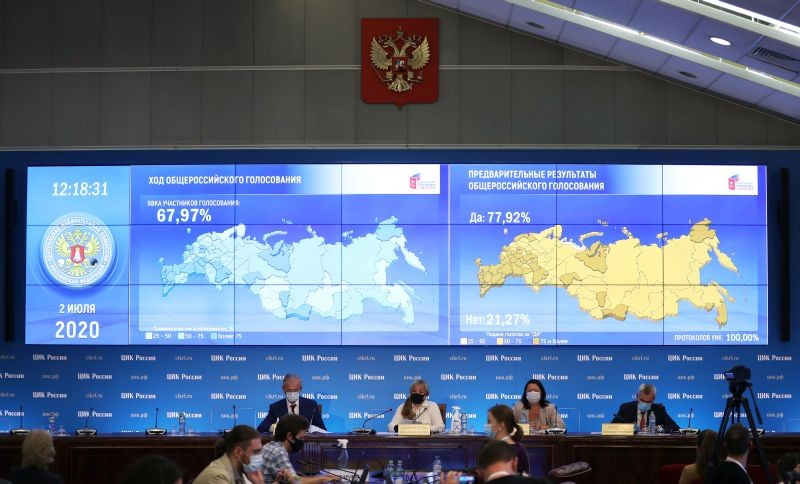Preliminary results of a nationwide vote on constitutional reforms are displayed on a screen during a news conference at the Central Election Commission headquarters in Moscow, Russia on July 2, 2020. (REUTERS Photo)