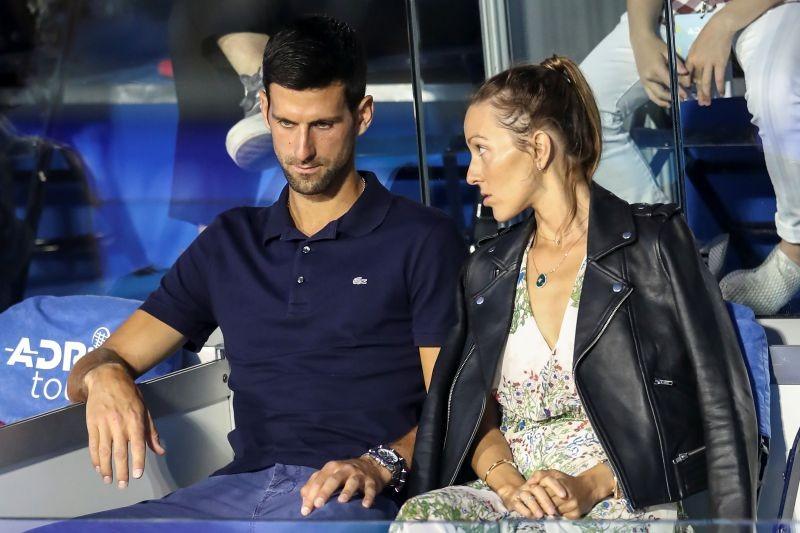 Serbia's Novak Djokovic with his wife Jelena in the stands during Adria Tour at Novak Tennis Centre in Belgrade, Serbia, June 14, 2020. Picture taken June 14, 2020. REUTERS/Marko Djurica