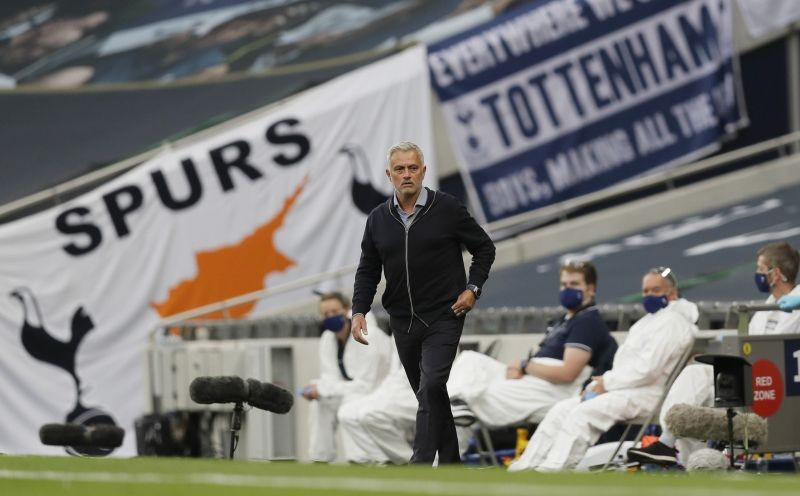 Tottenham Hotspur manager Jose Mourinho, as play resumes behind closed doors following the outbreak of the coronavirus disease (COVID-19) Kirsty Wigglesworth/Pool via REUTERS