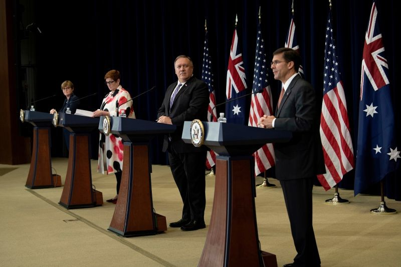 Australia's Minister of Defense Linda Reynolds, Australia's Foreign Minister Marise Payne and U.S. Secretary of State Mike Pompeo listen while U.S. Secretary of Defense Mark Esper speaks during a news conference at the U.S. Department of State following the 30th AUSMIN in Washington, DC on July 28, 2020. (REUTERS Photo)