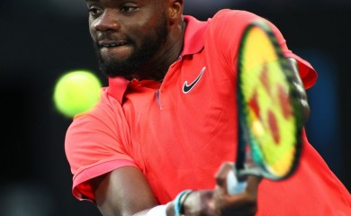 Frances Tiafoe of the U.S. in action during his match against Russia's Daniil Medvedev. REUTERS/Kai Pfaffenbach