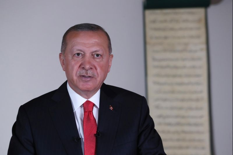 Turkish President Tayyip Erdogan delivers a televised address to the nation in Ankara, Turkey on July 10, 2020. (REUTERS File Photo)