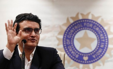 FILE PHOTO: Former Indian cricketer and current BCCI (Board Of Control for Cricket in India) president Sourav Ganguly reacts during a press conference at the BCCI headquarters in Mumbai, India, October 23, 2019. REUTERS/Francis Mascarenhas/File photo