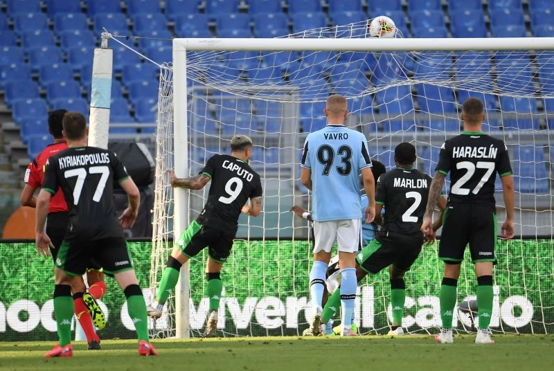 Sassuolo's Francesco Caputo scores their second goal, following the outbreak of the coronavirus disease (COVID-19) REUTERS/Alberto Lingria