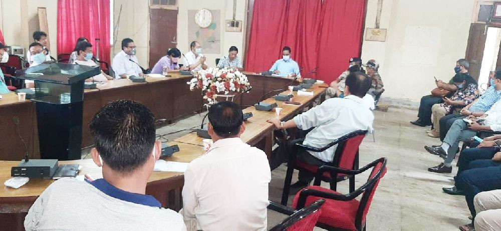 DC Dimapur Anoop Kinchi IAS addressing the Dimapur District Task Force meeting in the conference Hall of DC Dimapur on July 20. (DIPR Photo)