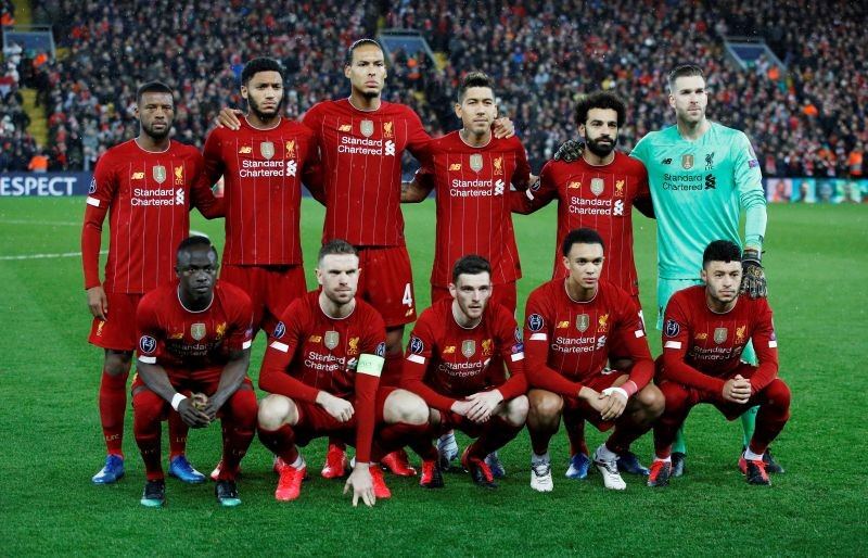 Liverpool players pose for a team group photo before the match REUTERS/Phil Noble/File Photo