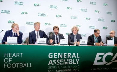 FILE PHOTO: European Club Association (ECA) Chairman Andrea Agnelli and other ECA representatives hold news briefing after the 23rd ECA General Assembly in Geneva, Switzerland, September 10, 2019. REUTERS/Denis Balibouse/File Photo