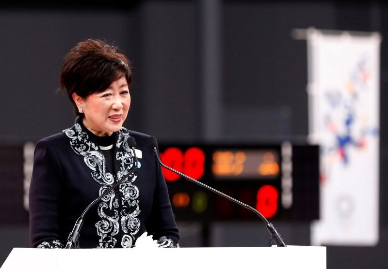 FILE PHOTO: Tokyo governor Yuriko Koike speaks at the opening ceremony of the Ariake Arena, which was due to host volleyball and wheelchair basketball competitions in the now-postponed 2020 Olympic Games in Tokyo, Japan February 2, 2020. REUTERS/Kim Kyung-Hoon/File Photo
