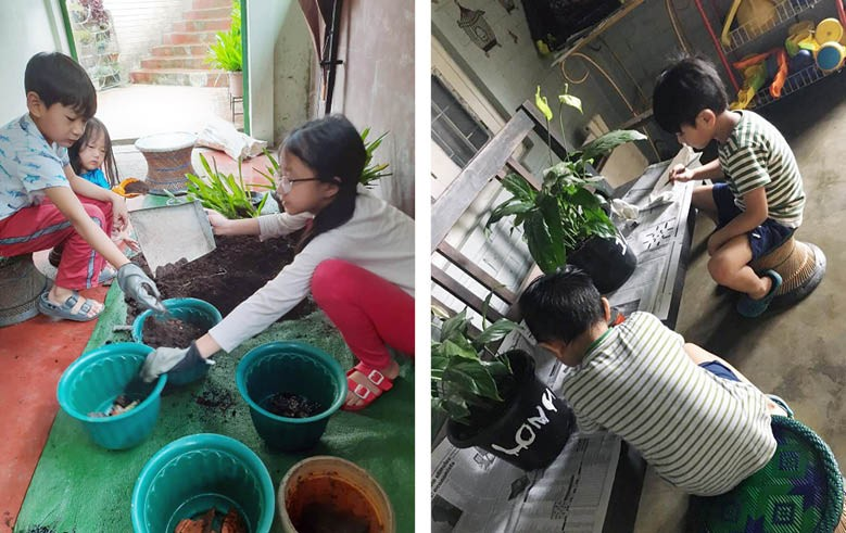 ECCO Club members busy preparing their flower pots for contribution to the Greenline movement.
