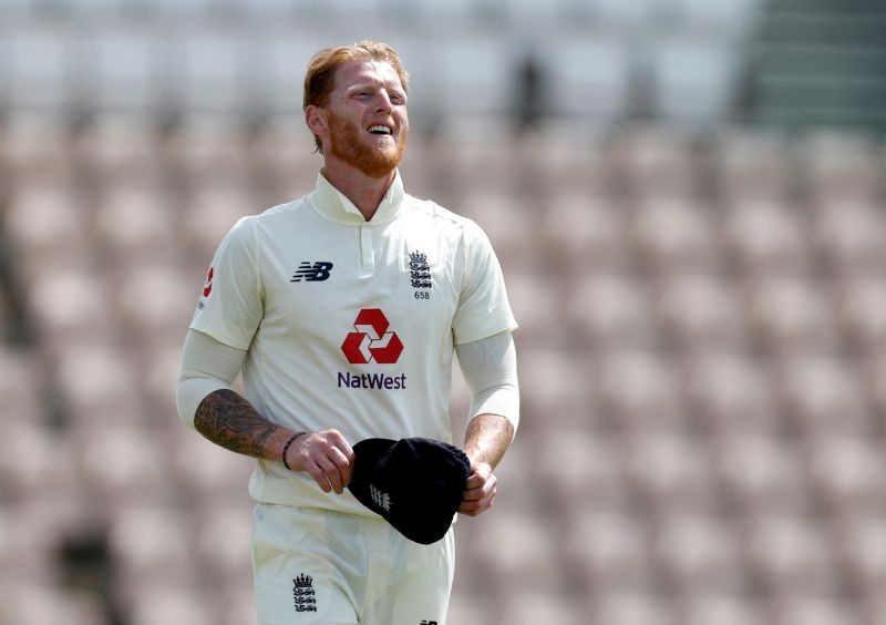 England's Ben Stokes reacts, as play resumes behind closed doors following the outbreak of the coronavirus disease (COVID-19) Adrian Dennis/Pool via REUTERS