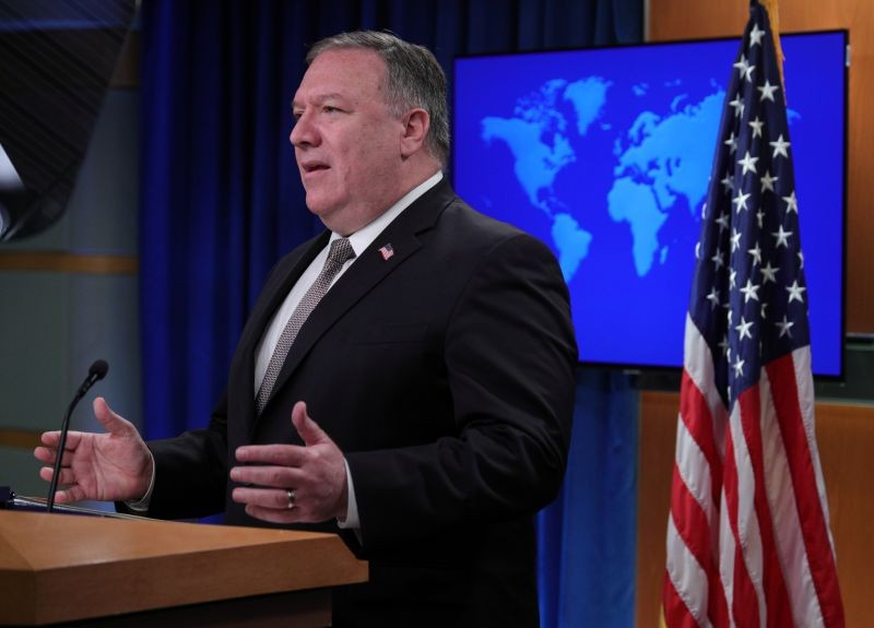 U.S. Secretary of State Mike Pompeo speaks during a news conference at the State Department in Washington, US on July 8, 2020. (REUTERS File Photo)