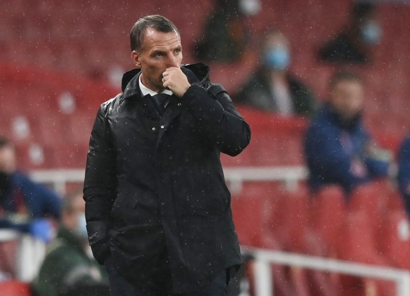 Leicester City manager Brendan Rodgers, as play resumes behind closed doors following the outbreak of the coronavirus disease (COVID-19) Shaun Botterill/Pool via REUTERS