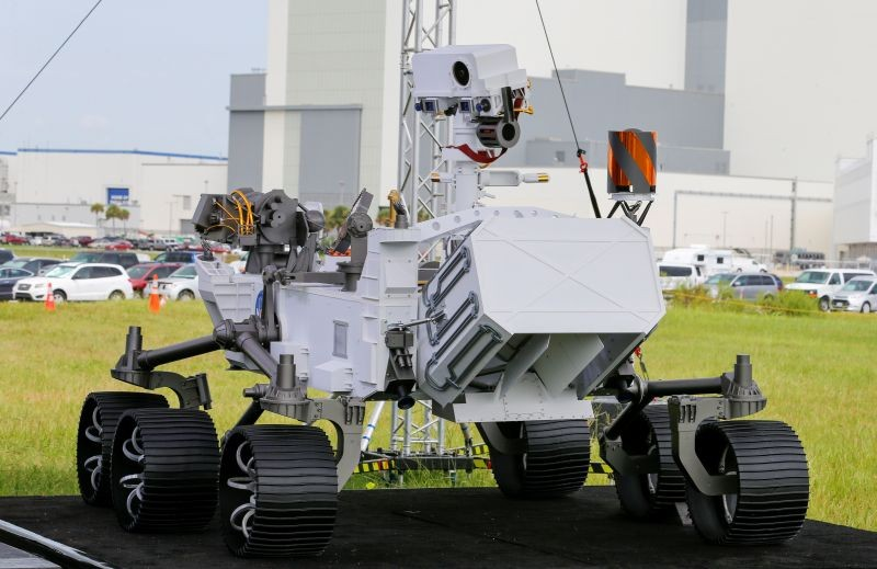A replica of the Mars 2020 Perseverance Rover is shown during a press conference ahead of the launch of a United Launch Alliance Atlas V rocket carrying the rover, at the Kennedy Space Center in Cape Canaveral, Florida, US on July 29, 2020. (REUTERS Photo)