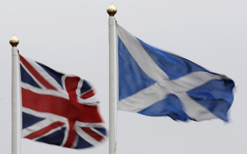 The Union flag and Saltire are seen flying side by side at Bankfoot in Perthshire ,Scotland on January 10, 2012. (REUTERS File Photo)