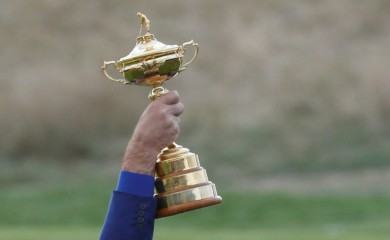 General view as Team Europe captain Thomas Bjorn lifts the trophy as they celebrate after winning the Ryder Cup REUTERS/Regis Duvignau/File Photo