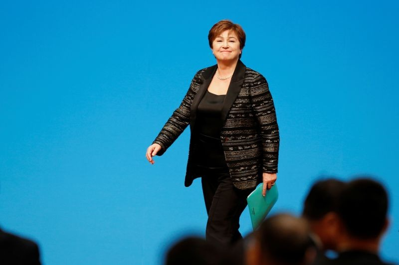 """International Monetary Fund (IMF) Managing Director Kristalina Georgieva leaves at the end of a news conference following the """"1+6"""" Roundtable meeting at the Diaoyutai state guesthouse in Beijing, China on November 21, 2019.  (REUTERS File Photo)"""