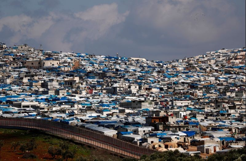 The Atma IDP camp, located in Idlib Governorate of Syria and housing internally displaced Syrians, is pictured from a Turkish border village in Hatay province, Turkey on March 1, 2020. (REUTERS File Photo)