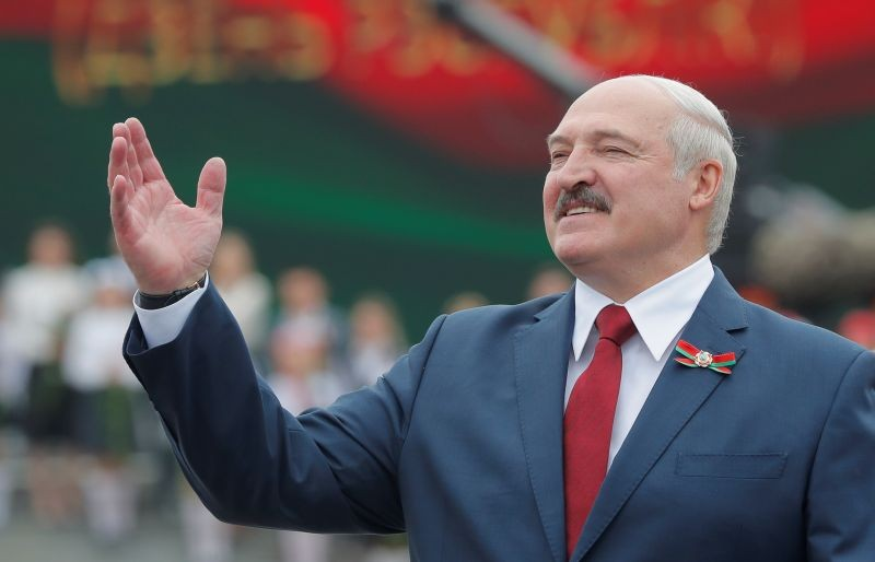 Belarusian President Alexander Lukashenko gestures as he takes part in the celebrations of Independence Day in Minsk, Belarus on July 3, 2020. (REUTERS File Photo)