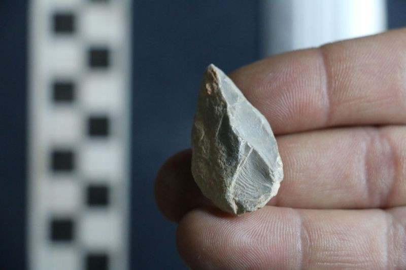 A prehistoric stone tool found at a cave in Zacatecas in central Mexico is seen in this image released on July 22, 2020. (REUTERS Photo)