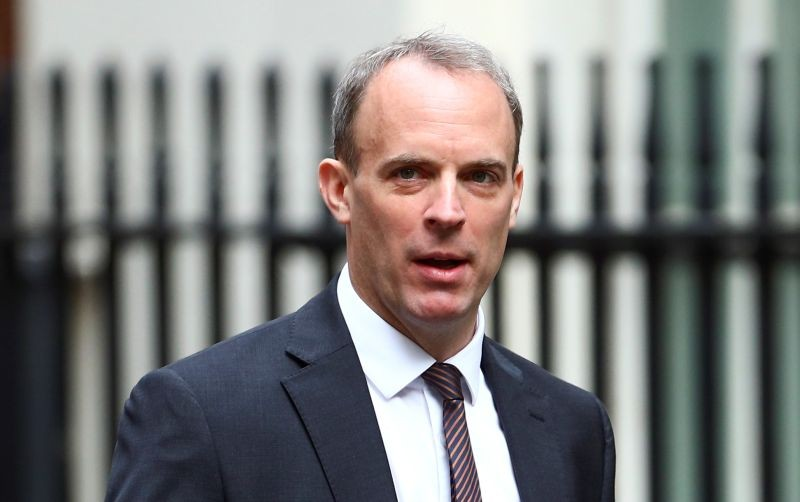 Britain's Foreign Secretary Dominic Raab arrives at Downing Street ahead of a cabinet meeting in London, Britain on July 14, 2020. (REUTERS Photo)
