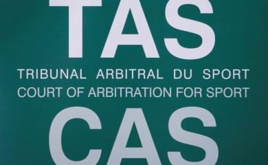 FILE PHOTO: The logo of the Court of Arbitration for Sport (CAS) is seen ahead of Chinese swimmer Sun Yang's public hearing for the appeal filed by the World Anti-Doping Agency (WADA) against him and the Federation Internationale de Natation (FINA), at the Conference Centre of the Fairmont Le Montreux Palace, in Montreux, Switzerland November 15, 2019. REUTERS/Denis Balibouse/File Photo