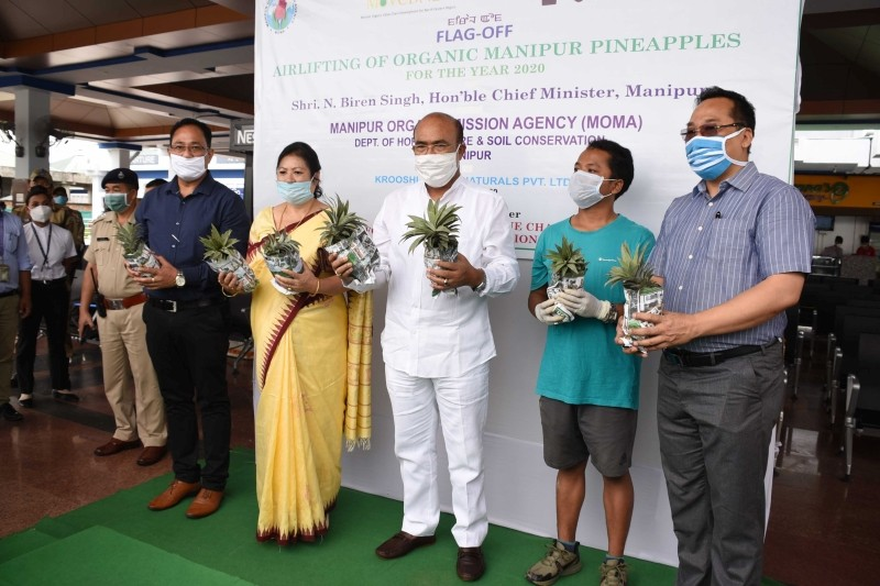 Manipur CM Biren Singh during the flag off of the organic Manipur pineapples which were airlifted for export on July 12.