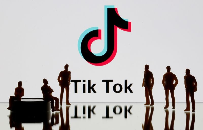A 3-D printed figures are seen in front of displayed Tik Tok logo in this picture illustration taken on November 7, 2019. (REUTERS File Photo)