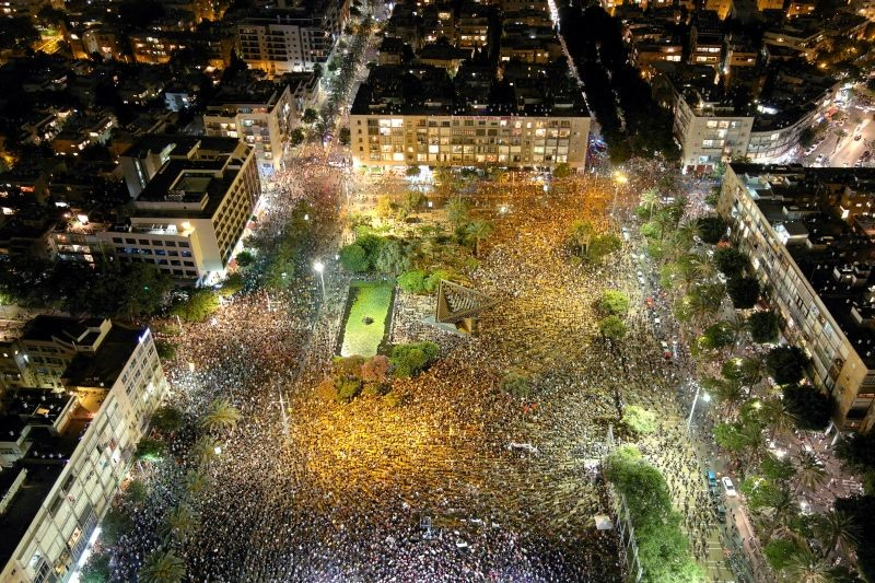 A general view shows Rabin square as Israelis protest against the government's response to the financial fallout of the coronavirus disease (COVID- 19) crisis in Tel Aviv, Israel on July 11, 2020. Picture taken with a drone. (REUTERS Photo)