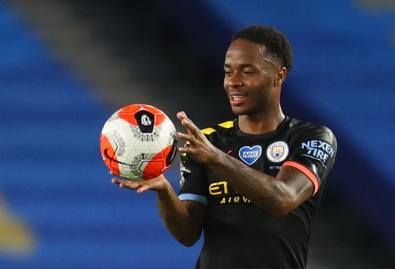 Manchester City's Raheem Sterling with the matchball after scoring a hat-trick after the match, as play resumes behind closed doors following the outbreak of the coronavirus disease (COVID-19) Pool via REUTERS/Catherine Ivill