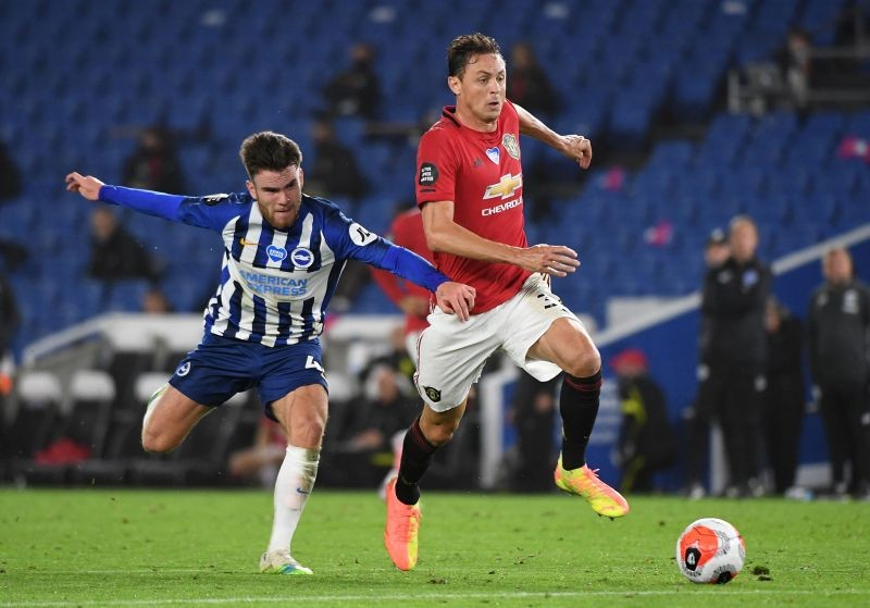Manchester United's Nemanja Matic in action with Brighton & Hove Albion's Aaron Connolly, as play resumes behind closed doors following the outbreak of the coronavirus disease (Reuters File Photo)
