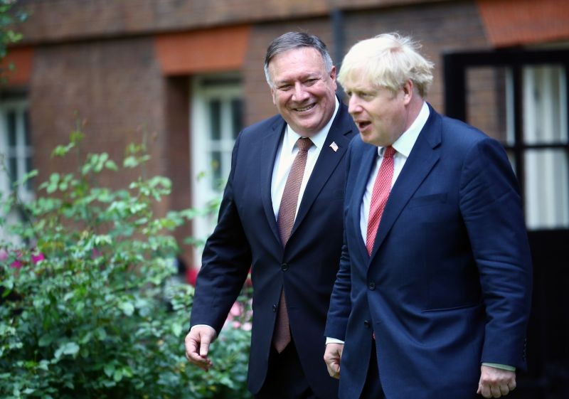 U.S. Secretary of State Mike Pompeo meets with Britain's Prime Minister Boris Johnson at Downing Street in London, Britain on July 21. (REUTERS Photo)