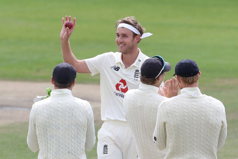 England's Stuart Broad celebrates taking his 500th test wicket with teammates after taking the wicket of West Indies' Kraigg Brathwaite, as play resumes behind closed doors following the outbreak of the coronavirus disease (COVID-19) Martin Rickett/Pool via REUTERS/File Photo