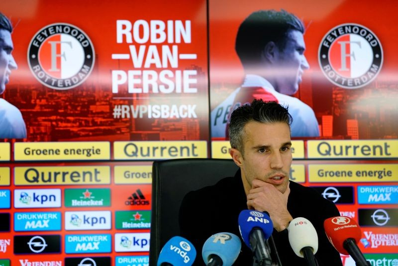 FILE PHOTO: Robin van Persie attends a news conference, after the Dutch player signed a contract with Feyenoord, in Rotterdam, Netherlands January 22, 2018. REUTERS/Cris Toala Olivares/File photo